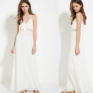Boho Maxi Dress, with Lace Crochet Waist
